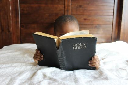 people, kid, child, read, room, bed, bible, church, religion, faith, black, african american