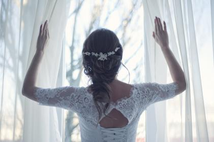 people, woman, bride, wedding, marriage, love, intimate, dress, gown, curtain, white