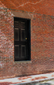 brick,  wall,  door,  sidewalk,  street,  urban,  exterior,  entrance,  building,  structure,  rustic,  bricks,  stone, city