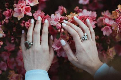 people, woman, lady, girl, hands, nails, rings, flowers, pink