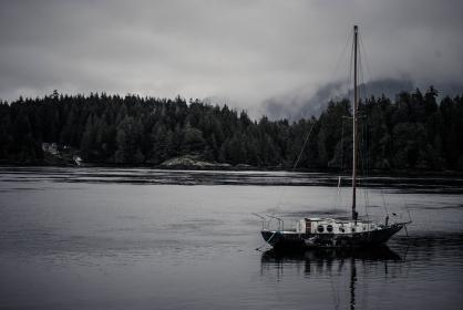 sea, lake, boat, ship, sailing, forest, canada, wilderness, outdoors, fog, clouds