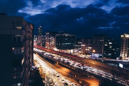 long exposure, car, transportation, photography, dark, night, city, urban, lights, highway, road, building, establishment, office, condominium