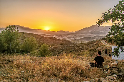 sunset,  landscape,  tree,  outdoors,  sky,  nature,  mountain,  sun,  evening,  grass,  fair weather,  daylight,  summer