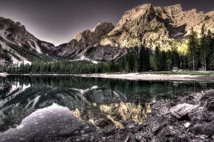 lake,  lakeside,  surreal,  dolomites,  mountains, water, reflection, nature, outdoors, trees, sky, hdr wallpaper, desktop wallpaper, rocks