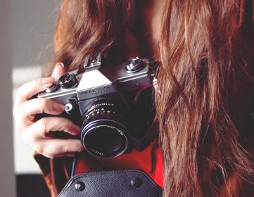 Praktica, camera, lens, slr, photographer, photography, long hair, brunette, girl, nail polish, hands