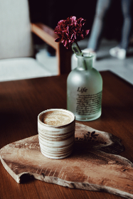 coffee,   flowers,   bottle,   wood,   table,   container,   cup,   drink,   nature,   food,   rustic,   vase