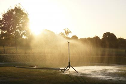 sprinklers, golf course, grass, water, trees, sunset