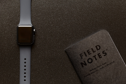 apple,  watch,  technology,  notebook,  field notes,  gear,  equipment,  flat lay,  top,  texture,  digital,  device,  gadget,  wearable,  information,  notes,  writing,  dark,  space gray