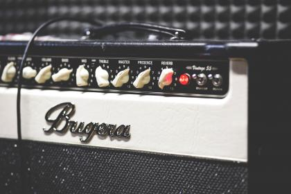 still, items, things, music, instruments, guitar, amplifier, amp, bugera, knobs, bokeh