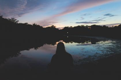 people, girl, sitting, alone, dark, night, outdoor, trees, plant, nature, lake, water, reflection, clouds, sky