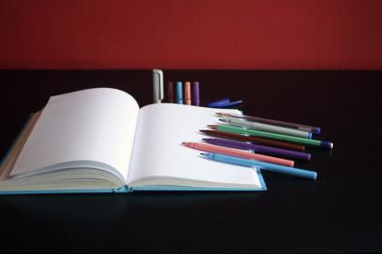 notebook, paper, colored, color, pen, art, material, marker, table, business, design