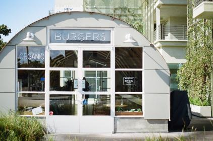 restaurant, burgers, organic, windows, eating, white, sunny, santa monica