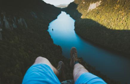 nature, mountains, water, river, people, man, guy, legs, shoes, blue, shorts, millennials