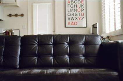 leather couch, house, apartment, letters, furniture