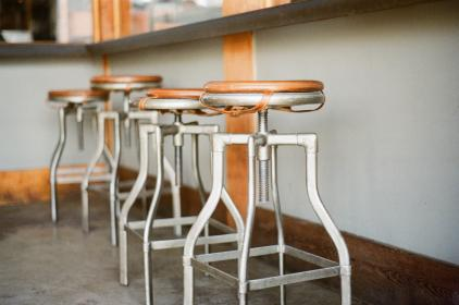 stools, stainless steal, cushions, restaurant, table, bar