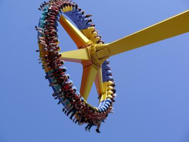 men, women, people, tourists, customers, themed, parks, rides, extreme, yellow, machine, swivel, rotate, minimalist, sky, blue, friends