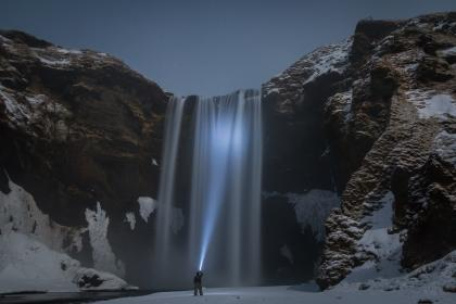 mountain, highland, sky, hill, cliff, waterfalls, people, man, flashlight