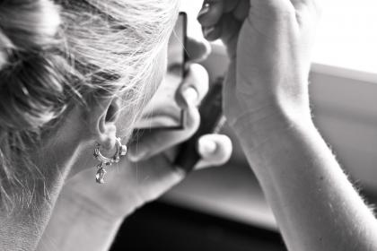 earring, pierce, accessory, people, woman, make up, cosmetics, mirror, black and white, monochrome