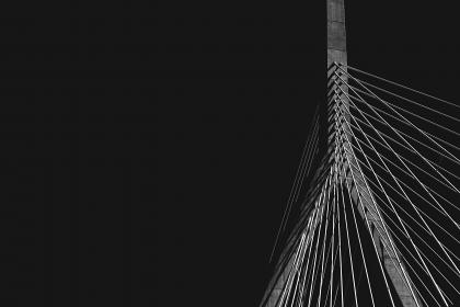 dark, black and white, infrastructure, cable-stayed bridge