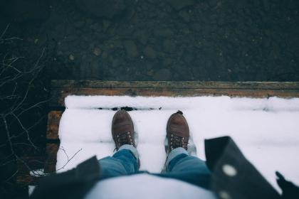 snow, winter, leather, shoe, jeans, travel, outdoor
