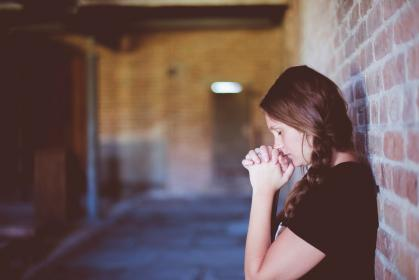 people, girl, alone, praying, wall, chapel, church, religion