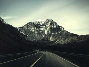 nature, landscape, mountains, slope, summit, peaks, snow, streets, roads, paths, cars, forests, trees, sky, clouds, horizon