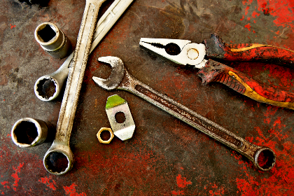 colour rust, rust, steel, tools, machine, spanner, pliers, red, old, worn, wrench, nut, bolt
