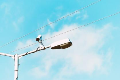 cable, wire, pole, lamp, light, cctv, camera, security, blue, sky, cloud