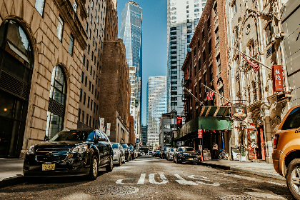 city,  architecture,  new york,  usa,  street,  car,  stop,  sign,  skyscraper,  building,  office,  work,  ny