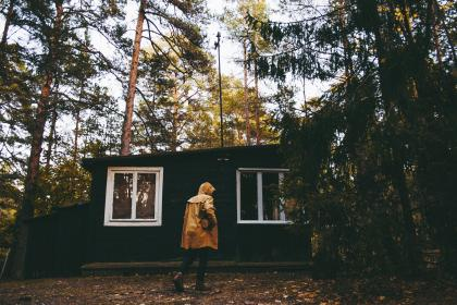 people, man, alone, walking, house, green, plant, trees, forest, travel, nature, outdoor
