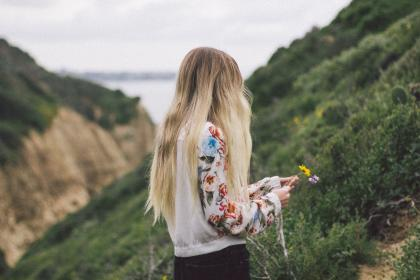 nature, mountains, cliffs, plants, grass, flowers, people, woman, girl, lady, blond, millenials