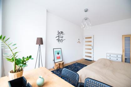 bed, table, interior, plant, lampshade, frame, design, bedroom, door, chair