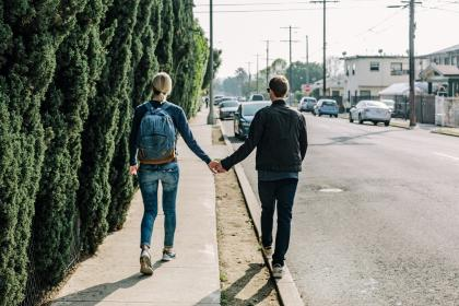 couple, love, romance, holding hands, girl, woman, guy, man, people, walking, pedestrians, sidewalk, street, road, pavement, cars, city, urban, neighborhood, neighbourhood, sunshine