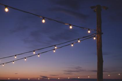 still, lights, lanterns, posts, sky, clouds, gradient, pink, purple, long, exposure, bulb, photography, bokeh