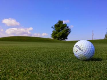 Titleist, golf, ball, green, grass, sports, fun, blue, sky, summer, sunshine