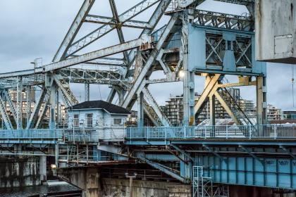 architecture, structures, bridges, walkways, lodge, steel, beams, posts, industrial, blue