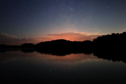 lake, water, mountain, valley, liquid, sky, clouds, space, stars, shooting star, night, dark, galaxy, universe, nature, silhouette, constellation, gradient, sunset