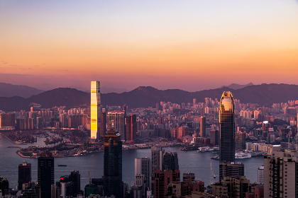 Hongkong,  city,  view,  amazing, asia, travel, tourism, sunset, red, clear, sky