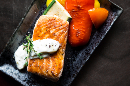grilled,  food,  fish,  vegetables,  garnish,  plate,  black,  square,  restaurant, salmon