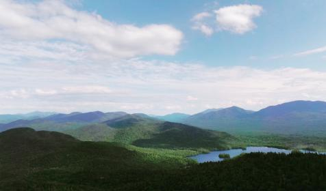 mountain, highland, trees, plant, nature, lake, water, sky, clouds