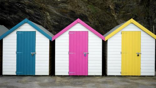 houses, miniature, tiny, colors, wood, blue, pink, yellow
