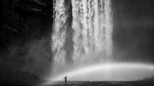 waterfalls, nature, black and white, outdoor, people, alone