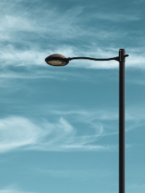 street,  lamp,  post,  sky,  light,  blue,  illumination,  city,  background,  minimal,  copyspace,  pole,  day,  clouds,  electric,  bulb