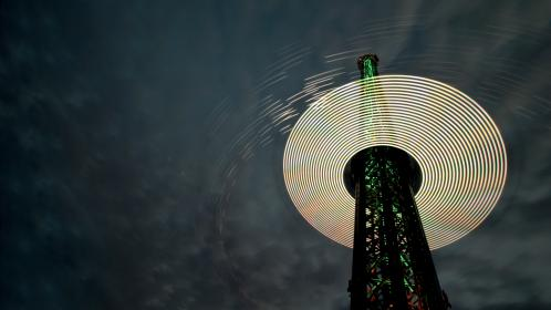 architecture, structures, tower, steel, night, sky, clouds, light, spheres, long, exposure, slow, shutter, bulb, photography