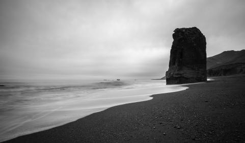 nature, landscape, ocean, sea, beach, water, waves, current, sand, black and white, monochrome
