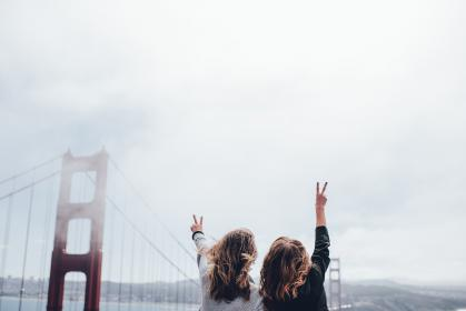 peace, girls, women, people, golden gate bridge, San Francisco, architecture, sky, clouds, cloudy, friends