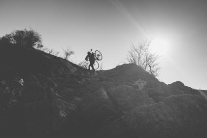 adventure, bike, bicycle, sunset, mountains, walking, black and white, bw, exercise, fitness, rocks, sky