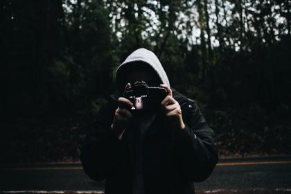 people, man, dark, hood, camera, photography, photographer, road, woods, forest, iso, aperture, shutter