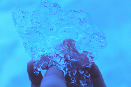 ice, frozen, freeze, hand, winter, cold, blue, cool