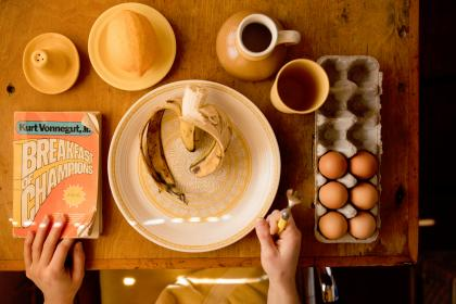 people, hands, fork, food, dining, eat, eggs, coffee, banana, breakfast, book